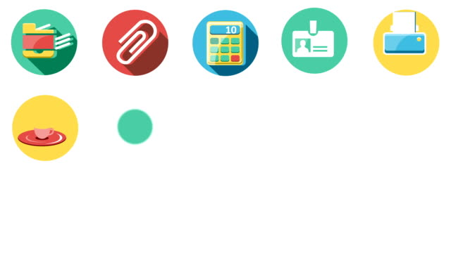Business and Office Flat Icons Set video