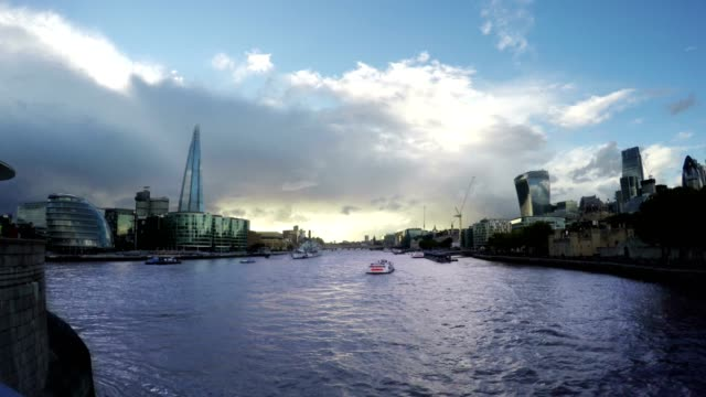 Business Buildings and Thames River, London, Uk, Time Lapse Fast video
