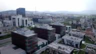 AERIAL: Business buildings in big city video