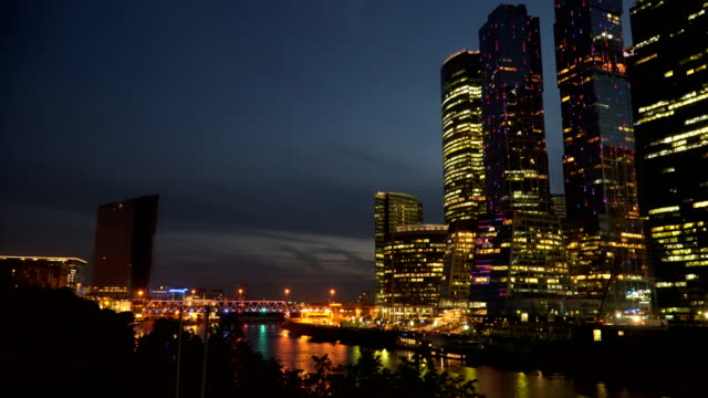 Business center on the river bank at night video