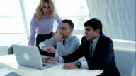 Business colleagues having conversation indoor video