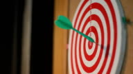 Business concept. darts arrows in the target center video