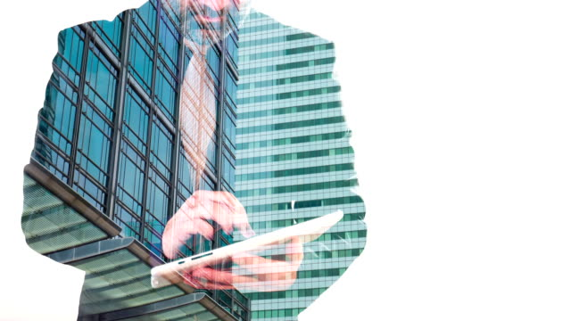 Business concept, double exposure London city office building and businessman video