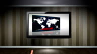 Business Concept in Monitor open with Hand Click video