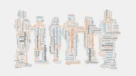 Business corporate marketing related words montage typography video