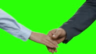 Business couple's handshake on green background. video