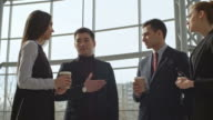 Business Discussion in Lobby video