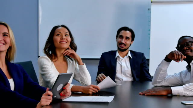 Business group looking up for inspiration video