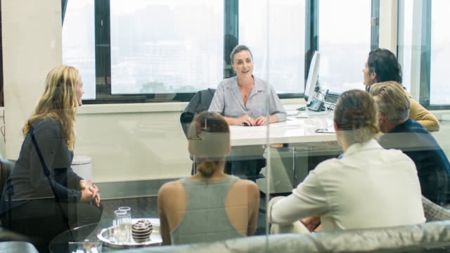 Business group on a meeting video