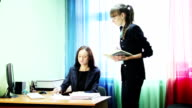Business lady bring documents for signature video