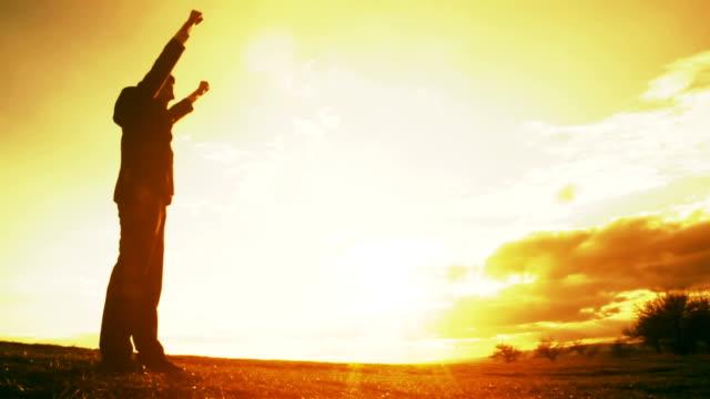 Business Light Freedom Businessman Success Silhouette Sunset video