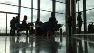 Business lounge silhouettes video