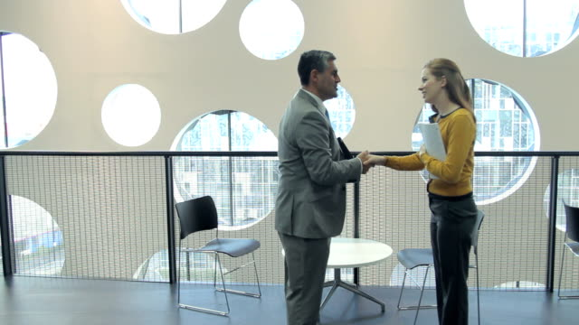 Business male and female meeting video