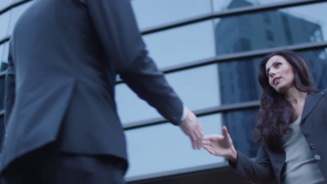 Business Man and Woman Have a Greeting Handshake video