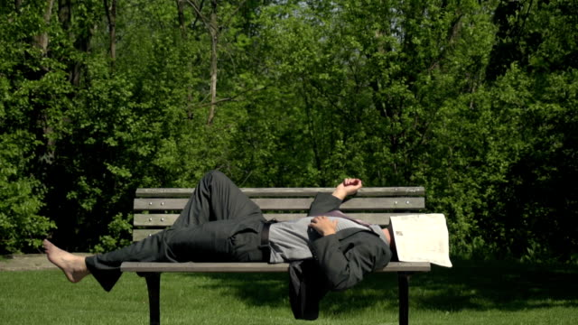 Business man asleep on a park bench video