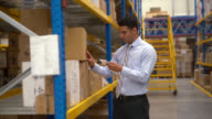 Business man at a distribution warehouse video