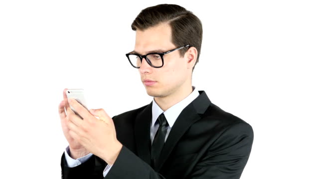 business man or successful working on smart phone , internet browsing , portrait video