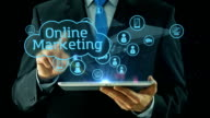 Business man pointing on line online marketing market concept tablet pad video