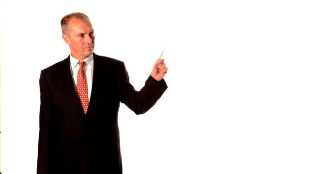 Business man presents video