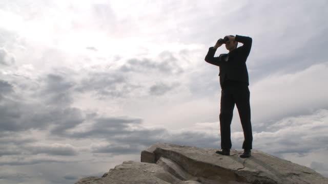 Business man surveys the horizon video