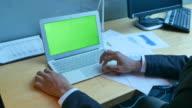 business man using laptop,green screen video