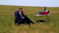 Business man working in open air virtual office video