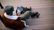 Business man working on digital tablet video
