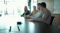 Business meeting in a board room. video