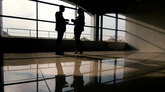 Business meeting, silhouettes of men and women video