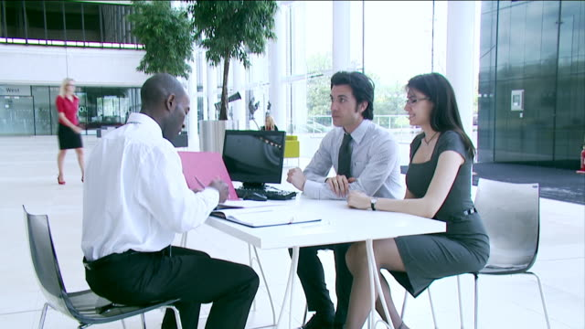Business meeting with bank or insurance agent video