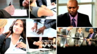Business montage Multi ethnic financial managers video