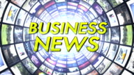 Business News Text in Monitors Tunnel, Loop video