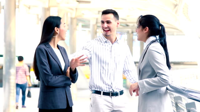Business on the Go : Business people talking and greet.HD format. video