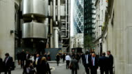 Business People In London Lime Street (4K/UHD to HD) video