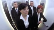 POV Business people in the elevator video