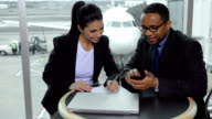 Business people meet at airport video