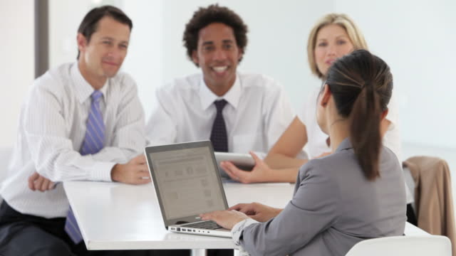 Business People Meeting In Office Using Laptop And Tablet Computer video