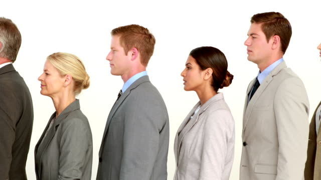 Business people standing line up video