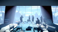 Business People Team, Rear View Cityscape video