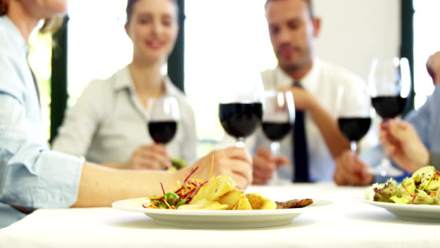 Business people toasting together with red wine video