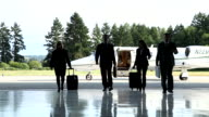 Business people walking away from jet video