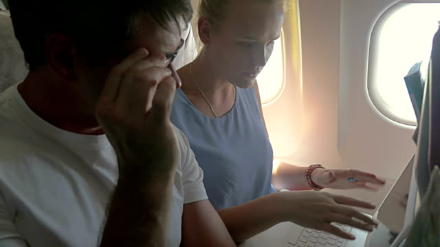 Business People Working during the Flight video
