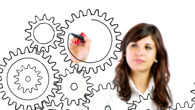 Business person drawing Gears video