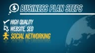 Business Plan Steps video illustration on blue in HD video