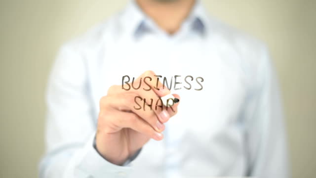 Business Share, Man writing on transparent screen video
