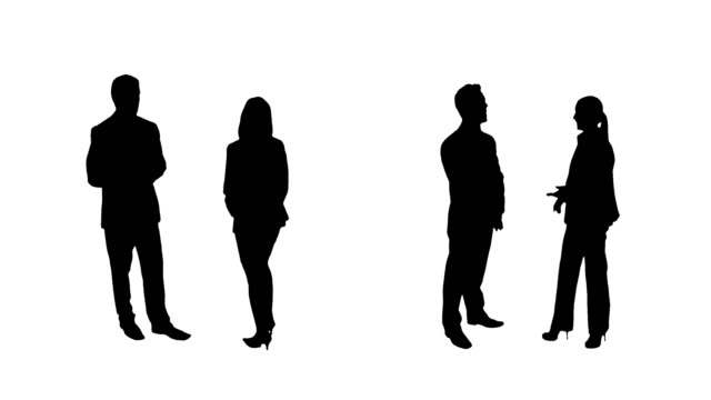 Business silhouettes. 4 in 1. Couples. video