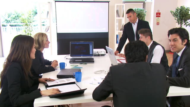 Business staff training session video