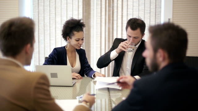 Business team: Business partners meeting video