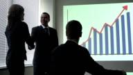 Business team congratulates each other video