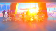 Business team in conference room, rear view sunset, 3d illustration, zoom in video
